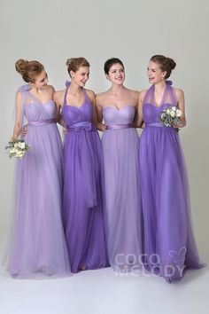 Charming Sheath-Column Natural Floor Length Tulle Light Purple Sleeveless Zipper Convertible Bridesmaid Dress with Ribbons COZF1500B