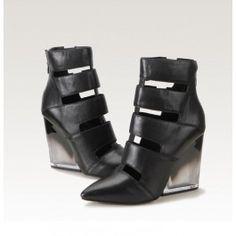 Posh Girl Black Wedge Heel Glass Hell Shoes