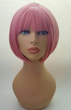 Pink Bob, Short Pink Bob Wig, Chin Length Bob, Bob with Bangs, Pink Bob with Bangs - All For Bob Hair Trending Fringe Haircut, Bob Haircut With Bangs, Curly Hair With Bangs, Curly Hair Styles, Try On Hairstyles, Long Bob Hairstyles, Vintage Hairstyles, Modern Haircuts, Layered Haircuts