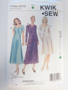 Kwik Sew Pattern 3110 Dress Neck Sleeve Length Variations Classic Sizes XS to XL #KwikSew #Classic