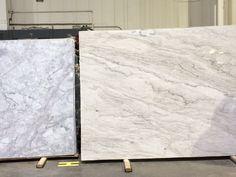 Super white quartzite (left) vs. white pearl quartzite (right). Cooler vs. warmer - whichever you prefer