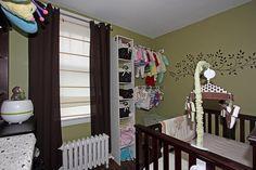 Small Nursery storage, awesome idea hangers from shelf to wall