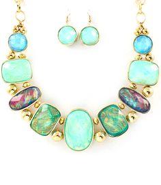 Semi Precious Stone Opal Bib Necklace and Drop Earring Set $24.95 Australia