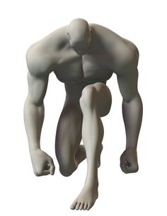 3D sketch of a superhero in a kneeling pose. Image is copyright free.