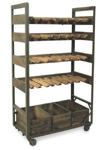 Harlem Vintage Industrial Wine Shelf Rack On Wheels