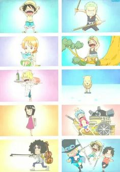 One piece ~ Luffy, Zoro, Nami, Usopp, Sanji, Chopper, Robin, Franky, Brook, Sabo, and Ace as kids
