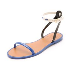 Tory Burch Leather Ankle Strap Flat Sandals New in box. Neptune Black and Ivory Color. Tory Burch Shoes Flats & Loafers