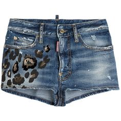 Dsquared2 Denim Shorts with Leopard Print ($297) ❤ liked on Polyvore