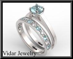 Light Blue Aquamarine And Diamond Wedding Ring by Vidarjewelry, $1999.00