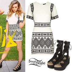 "Perrie Edwards posed on the cover art for Little Mix's new single ""Love Me Like You"", wearing a Geo Print Jacquard Shift Dress (sold out) and her WEBSTER Ghillie Lace Up Sandals (sold out), both from Topshop.  You can get the look with lace-up flatforms from ASOS ($54.00) and a dress from Zara ($49.90)."