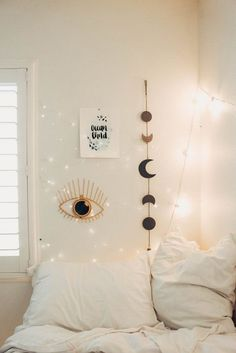 Lady Scorpio Perfect Bedroom Decor for the Hippie at heart Alexa Halladay designing a Boho Bungalow Light Pastel All Seeing Gold EYE with Copper Fairy. Bedroom Wall, Bedroom Decor, Bedroom Ideas, Bedroom Girls, Bed Wall, Bedroom Furniture, Bedroom Designs, Master Bedroom, Bedroom Lighting