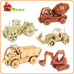 Cheap puzzle roses, Buy Quality puzzles us directly from China toy wardrobe Suppliers: free shippingeducational car puzzle diy wooden toy trucks and cars children excavator 3d model street roller dumpe