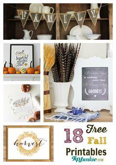 Free Fall Printables - HARVEST w/ WHEAT