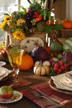 Great Centerpiece! Celebrating home has a basket perfect for this arrangement.  What a wonderful idea!