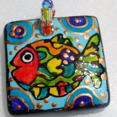 Fish Jewelry Beach art  Hand Painted ceramic pendant