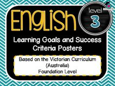 VICTORIAN CURRICULUM UPDATED TO VERSION 8.3 Grade Level 3 All English Learning Goals Success Criteria! VICTORIAN CURRICULUM This packet has all the posters you will need to display the learning goals for the whole year: Grade Level 3 VICTORIAN Curriculum English - Reading - Writing - Speaking and Listening (Language, Literature, Literacy)