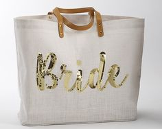 Give your bride the perfect gift for her bridal shower with this adorable tote!   Bride Sequin Jute Tote Bag
