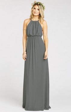 Amanda Maxi Dress ~ Soft Charcoal Crisp | Show Me Your MuMu