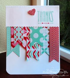 Thank you card using Stampin' UP! Hip Notes and Fresh Prints DSP