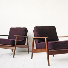 PAIR   Danish Lounge Chairs Arm Chairs