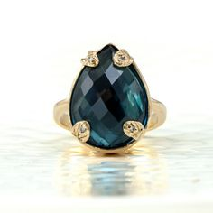 Jewelry - Handmade Designer Jewels: London Blue Topaz Leaf Ring, 14k Gold & Diamonds