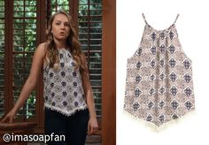 Kristina Davis's Multicolored Printed Tank - General Hospital, Season 53, Episode 252, 03/30/16 - I'm a Soap Fan, Lexi Ainsworth, #GH Fashion, Clothing worn on #GeneralHospital