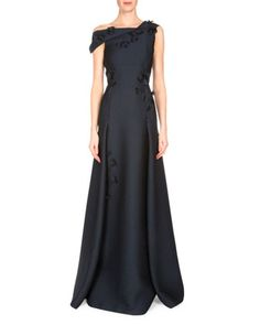 Rocher+3-D+Floral-Embellished+Gown,+Navy+by+Roland+Mouret+at+Neiman+Marcus.