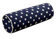 This extremely versatile custom bolster pillow features Ikat Dots in Sunshine Blue and Natural fabric (IKATDSUBNA). #Auburn #OleMiss #NotreDame #Navy #PennState #BYU #UVA