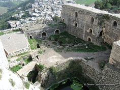 Castle Alhsn, Syria — by Michele Thulborn-Chapman. View from the top of the Krak des Chevaliers, also Crac des Chevaliers, (Castle of the Knights) Ḥoṣn al-Akrād, Castle...