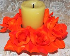 Mira este artículo en mi tienda de Etsy: https://www.etsy.com/listing/265580488/candle-ring-6orange-for-wedding