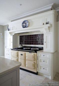 cream aga range cooker and a mantel style range hood Aga Kitchen, Kitchen Hoods, Kitchen Tiles, Kitchen Vent, Kitchen Cabinets, Kitchen Island, Cream Country Kitchen, Country Kitchen Designs, Country Kitchens