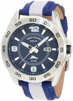 Tommy Bahama RELAX Men's RLX1136 Bridgetown Blue & White & Blue Analog Nylon Strap Watch Tommy Bahama. $76.43. Durable and comfortable nylon dual colored strap with solid stainless steel buckle closure. Water-resistant to 330 feet (100 M). Solid stainless steel case, case back , crown and stationary timing bezel. 3-hand japanese-quartz movement with sweeping second hand and a date display. Durable hardnened mineral glass crystal and is water resistant to 100 meters (...
