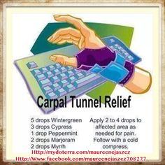 Carpal Tunnel Relief using doTERRA Essential Oils! #doterraessentialoils #carpaltunnel #healthy To order DoTerra Wholesale or Retail - Http://mydoterra.com/maureenejaszcz To follow my Facebook page about doTerra: Http://Www.facebook.com/maureenejaszcz708277