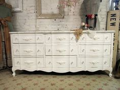 distressed white Refurbishing Furniture, Find Furniture, Dresser Inspiration, Room Inspiration, Painted Cottage, Shabby Cottage, My New Room, My Room, French Dresser