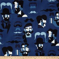 Nicole's Prints Mister Stache Denim from @fabricdotcom  Designed by the DeLeon Design Group for Alexander Henry, this cotton print is perfect for quilting, apparel and home decor accents.  Colors include black and shades of blue.