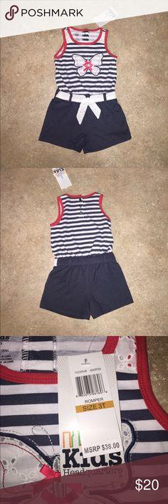 Kids Headquarters 3T romper Red blue and white striped romper sewn in cute white lace belt Kids Headquarters Shorts
