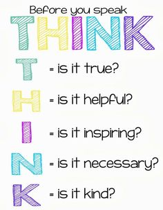 Think Before You Speak - Gossip - Young Women's Lesson Handout - YW Young Women Lessons, Young Women Activities, Young Women Crafts, Activity Day Girls, Activity Days, Think Before You Speak, Girl Empowerment, Lds Quotes, Qoutes