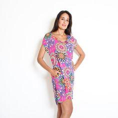 Colorful Dress Scoop Neck Short Sleeve Dress by ElianaStudio
