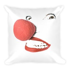 "Clown Nose Square Pillow  This soft pillow is an excellent addition that gives character to any space. It comes with a soft polyester insert that will retain its shape after many uses, and the pillow case can be easily machine washed. And it's completely cut, sewn and printed in the USA.  • 18""x18""  • machine washable cover • concealed zipper • printed on both sides • pillow case cover: 80% polyester, 20% fleece • pillow case insert: 100% polyester"