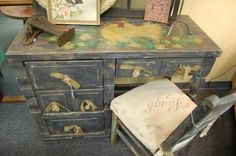 Cluck Cluck...Chicken/Rooster Handpainted desk/chair...burlap pulls and LAUGH stenciled seat!