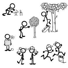 Stick Figure Business Growth vector art illustration