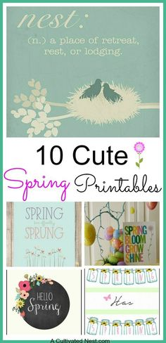 10 Cute Free Spring Printables. Are you ready for spring? I know I am! Here are some spring printables that you can easily print out at home and frame for some inexpensive spring home decor. Free printables| DIY home decor| spring decorating ideas
