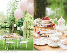 Hochzeitsdekoration mit Naked Cake von Tortenmacher und Vintage-Geschirr von Tante Betty am Werseufer in Handorf, Hof zur Linde