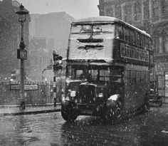 Cambridge Circus, London, 1936  Snow does not often fall in London and never stays on the ground for long. I thought that I should not miss this opportunity to get an interesting picture.
