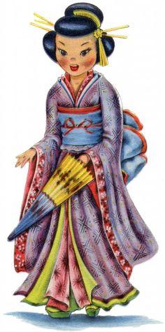 Retro Japanese Doll Image