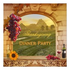 Wine Thanksgiving Dinner Party Invitation