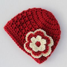 Baby girl crochet red and cream flower beanie  by HomespunField