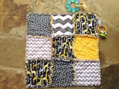 Yellow and gray jungle and giraffe security by BlueSheepBoutique