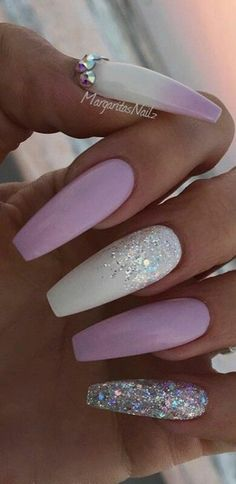 Purple white glitter acrylic coffin nails Design, Nail Art, Nail Salon, Irvine, Newport Beach