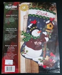 "Bucilla FOLKSY SNOWMAN 18"" Felt Christmas Stocking Kit 85267 Bird House OOP  #Bucilla #FeltStocking"